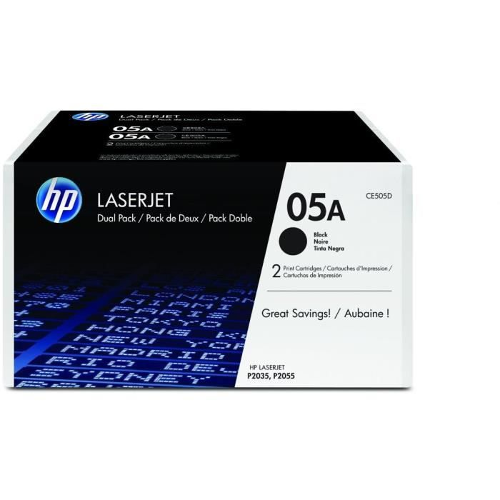 HP - Pack de 2 Cartouches de toner 05A - 2 x 2300 pages - Noir