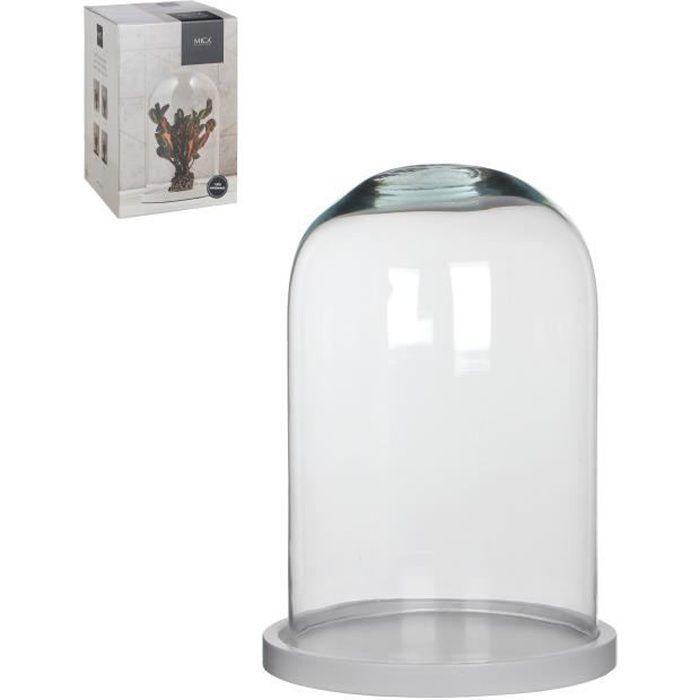 MICA Cloche Hella transparent - Blanc de bois - 30 xØ21,5 cm