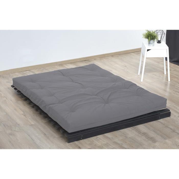 Matelas futon 140 x 190 - Confort ferme et Equilibré - Epaisseur 15 cm - Taupe