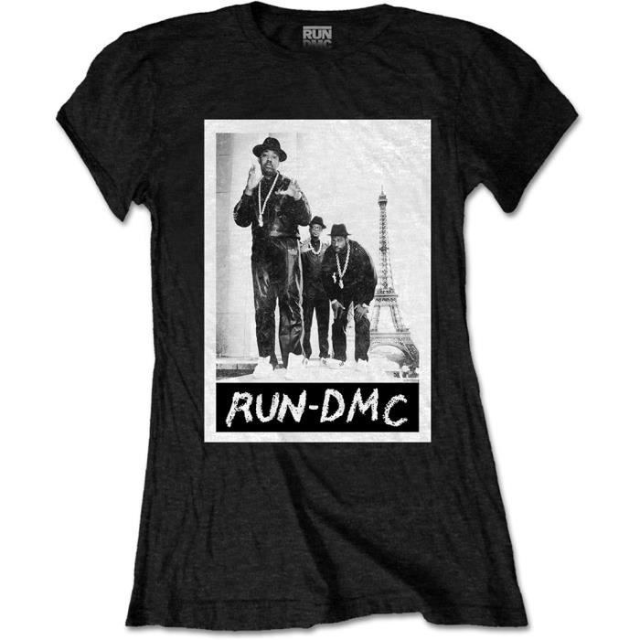 7ab34ba707ee2 Ladies Run DMC Eiffel Tower Rap Autorisé Dames Femmes T-Shirt Noir ...