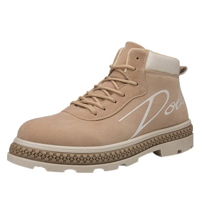 huadedu Bottes Hommes Bottines travail Chaussures Casual Haut Cut adultes Chaussures de sport Chaussures de marche Kaki