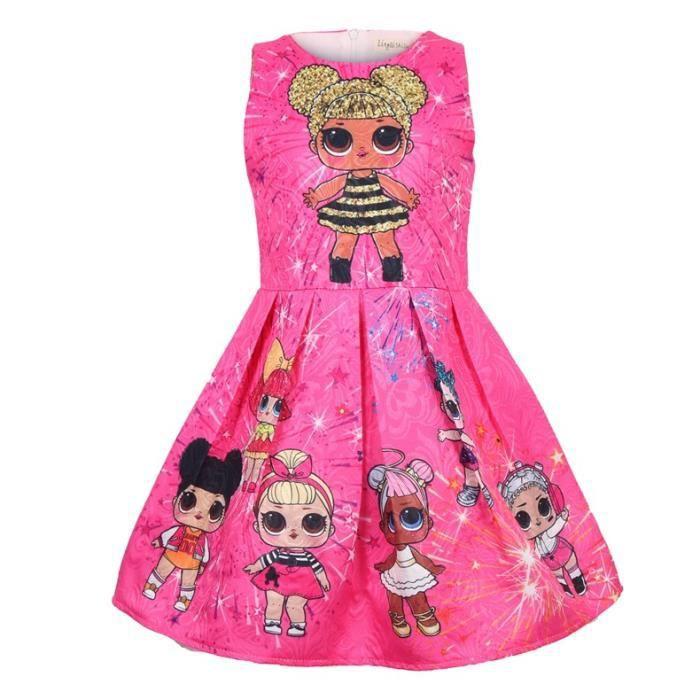 3f6ed3716de LOL surprise doll petite fille Enfant Jupe siamoise Robe d été Mignon Rouge