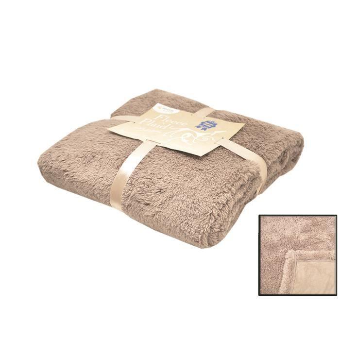 Couverture Fleece 'long Pile' Beige 100 X 150cm