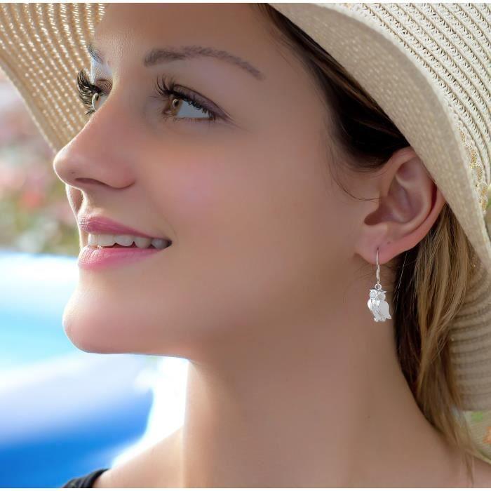 Parure-Nacre blanche-Argent-Femme-Blanc-Pendentif-Boucles doreille-chouette-Hibou