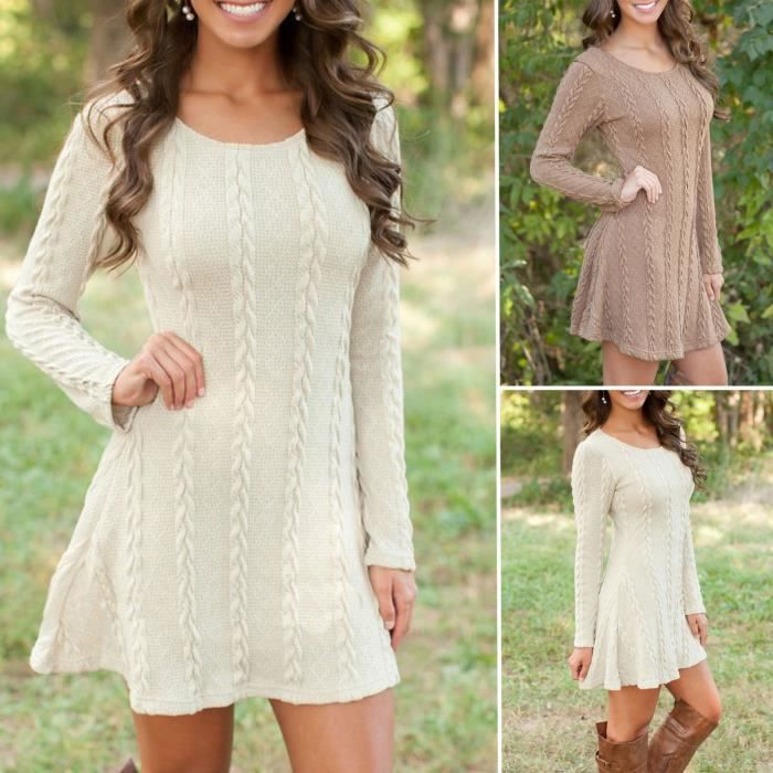 robe femmes pull tricoté manches longues sexy