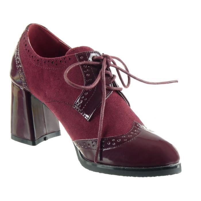Angkorly - Chaussure Mode Derbies bi-matière femme verni perforée Talon haut bloc 7.5 CM - Gris - L2655 T 41 s6CrDDUyg