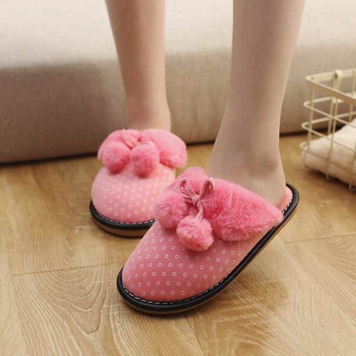 Sidneyki®Bottes d'hiver pour femmes noeud papillon en peluche chaussures de plein air bottes de neige chaud cheville BKRose XKO725