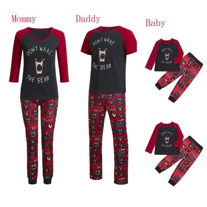 Famille Pyjama Noël Hommes Chemisier Assortiments De Papa Pantalons Gris Cartoon Nuit EqRRxAOt