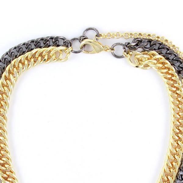 Idée Cadeau Noël - Ettika - Collier Chaine en Acier et Plaqué Or jaune - Blue Pearls