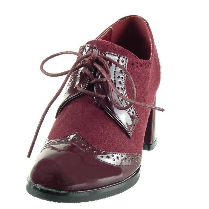 Angkorly - Chaussure Mode Derbies bi-matière femme verni perforée Talon haut bloc 7.5 CM - Gris - L2655 T 41 4xYMv