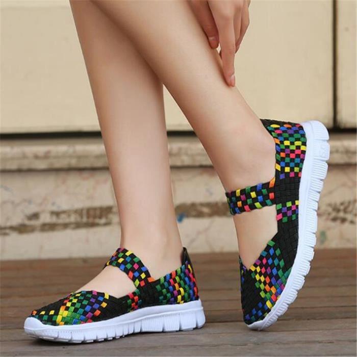 Printemps sandale Chaussures Mocassins Mixte Tissent Casual Carreaux Sport femme Chaussures Respirant ete à Couleur 7w1tqx55