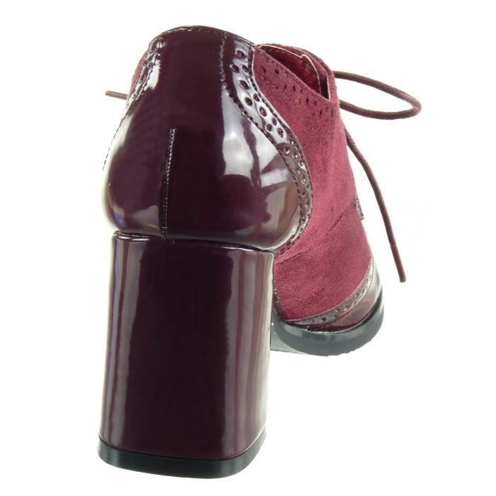 Angkorly - Chaussure Mode Derbies bi-matière femme verni perforée Talon haut bloc 7.5 CM - Bordeaux - L2655 T 41 ppYYsjtej
