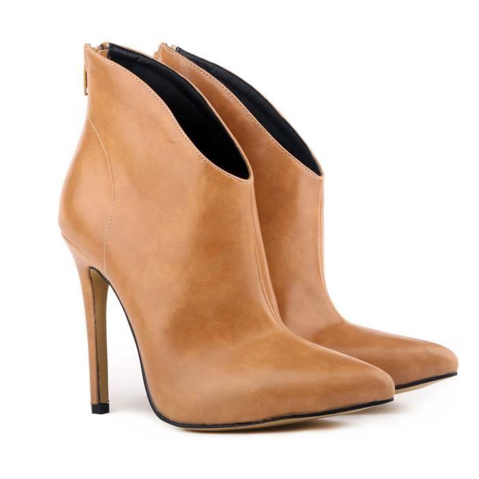 Automne et hiver nouvelle Europe et les États-Unis bottes à talons hauts bottes à talons hauts bottes en cuir en cuir,marron,36