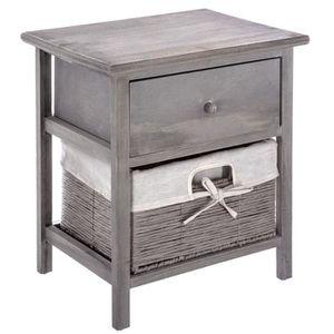 CHEVET Table de chevet 1 Tiroir avec panier - L. 40 cm - 4764bc01b2bf