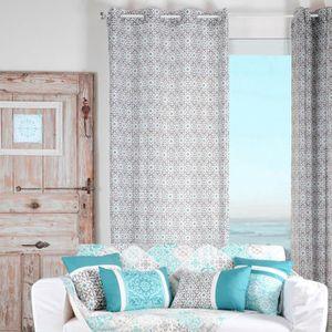 rideau bleu gris achat vente rideau bleu gris pas cher. Black Bedroom Furniture Sets. Home Design Ideas