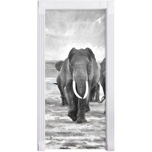 STICKERS famille Elephant dans l'effet de charbon de bois d