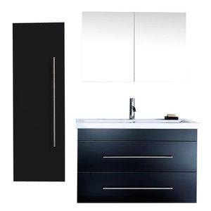 Meuble salle de bain avec vasque noir achat vente for Salle de bain economique