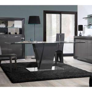 Table de salle à manger design BROOKLYN coloris gris/taupe laqué - L ...