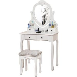 COIFFEUSE JEOBEST® Coiffeuse Blanc, Table de Maquillage, ave