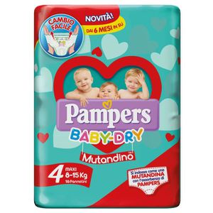 COUCHE PAMPERS BABY-DRY Culotte 4 Maxi 8-15 Panneaux 16 P