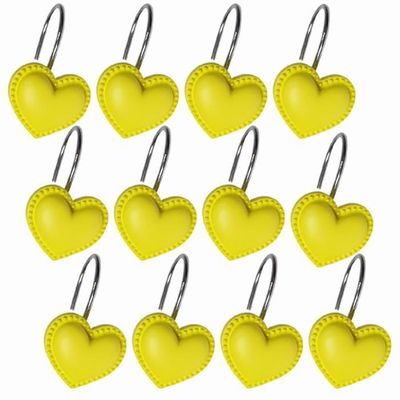12pcs crochet de support de crochet de rideau de douche décoratif en forme  de coeur résistant à la rouille jaune