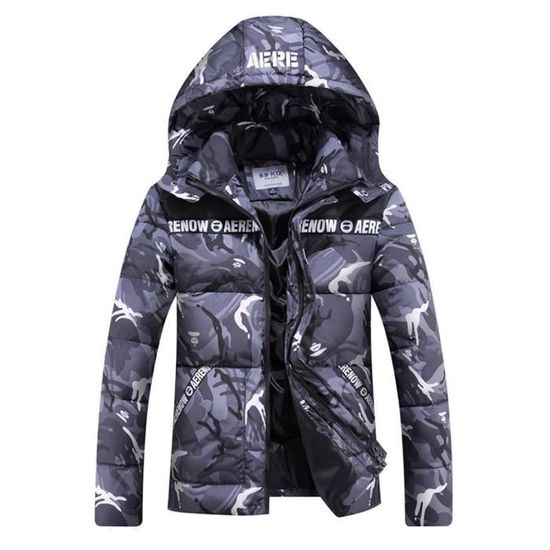 À Matelassée Veste De Capuche Casual Camouflage D'hiver Vêtement Homme 6xaagwvqB
