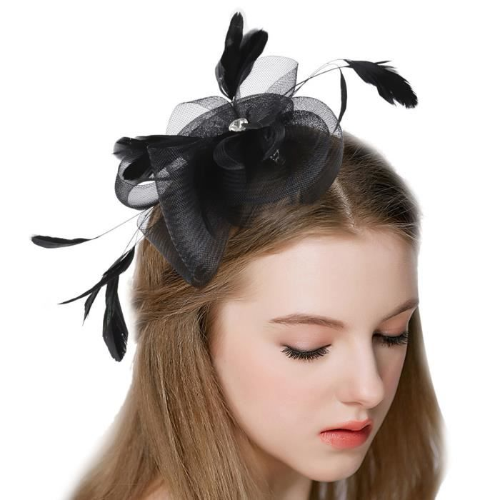 chapeau ceremonie noir accessoire pour cheveux mariage clip fascinateur plume cheveux headpiece. Black Bedroom Furniture Sets. Home Design Ideas