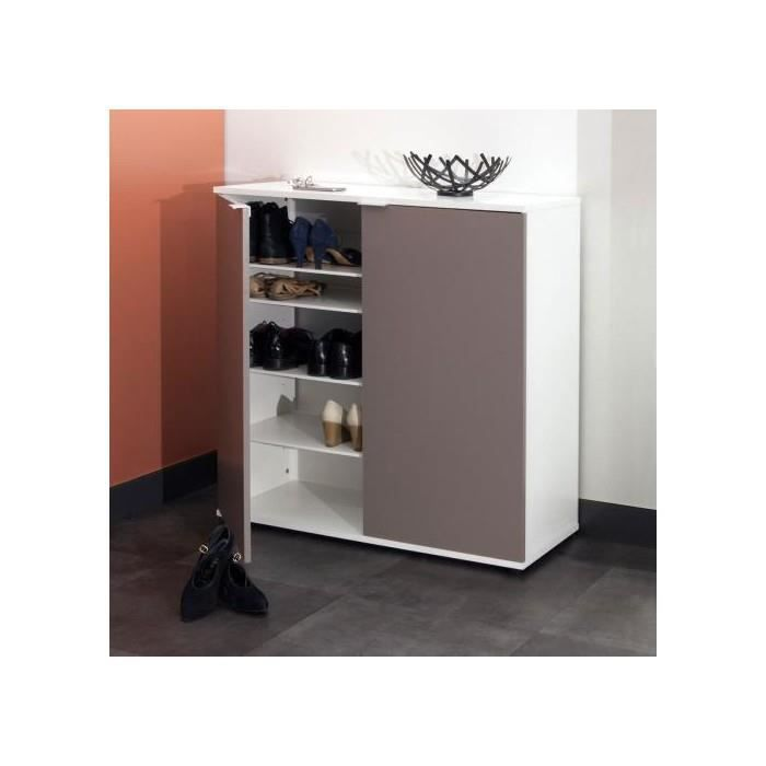 Meuble A Chaussures 2 Portes Blanc Taupe Achat Vente