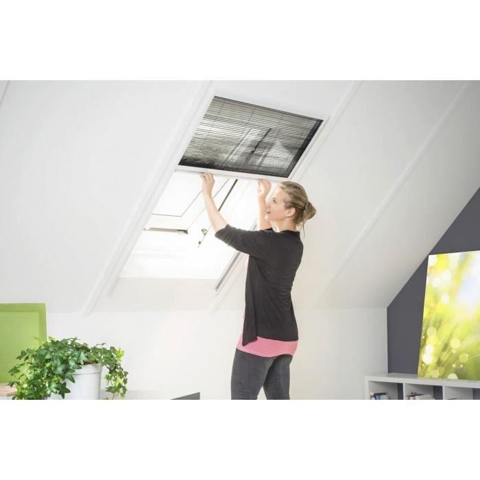 moustiquaire fen tre de toit smart pliss e alu blanc l110 x h160 cm achat vente moustiquaire. Black Bedroom Furniture Sets. Home Design Ideas