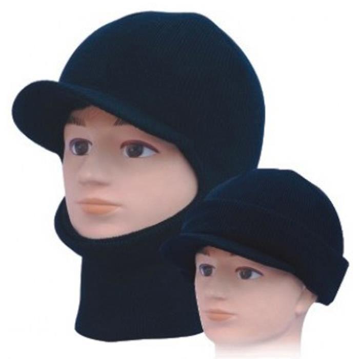 b00b357f3a9f8 Bonnet Cagoule Casquette noir avec visière 3 Façon Noir - Achat ...