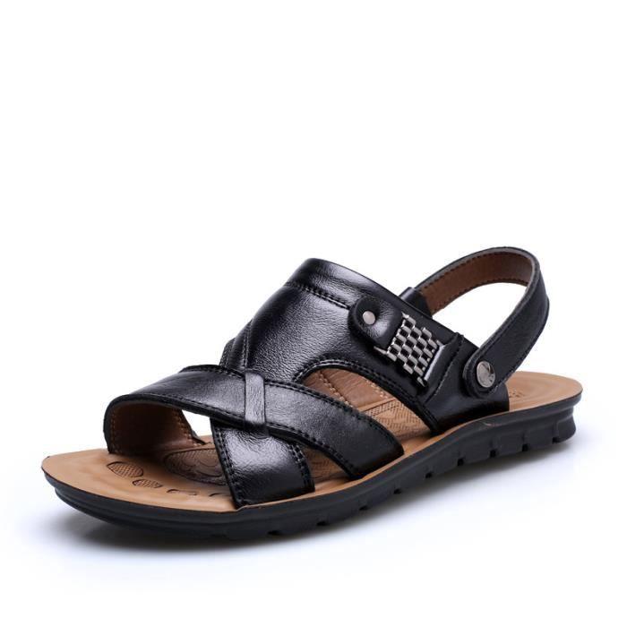 Les et en pantoufles sandales pour cuir homme sandales 4rxS4qz