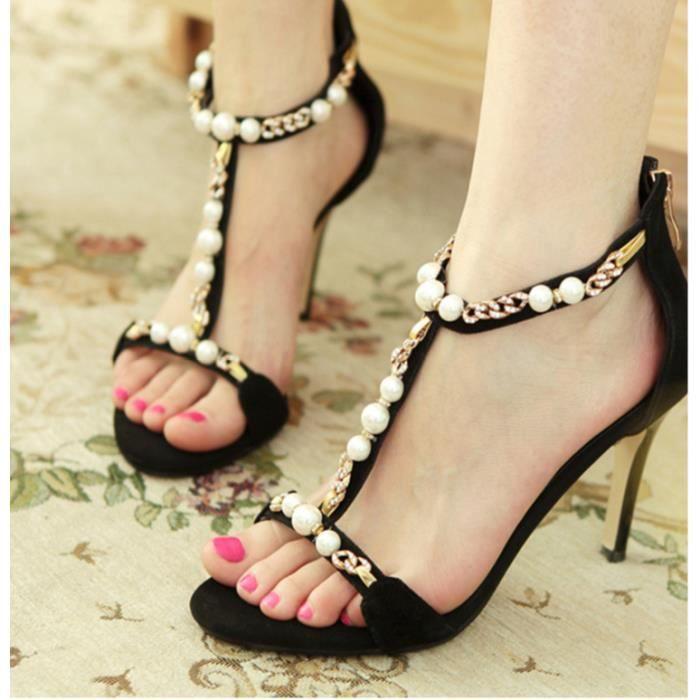 Discothèque Sexy Princesse perles sandales à talons hauts