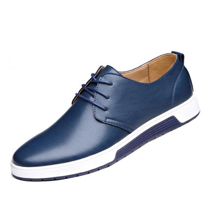 64e5ab1b1cecd Chaussure Cuir Homme Chaussure de Ville Décontractée à Lacets Mode Mocassin  en Cuir