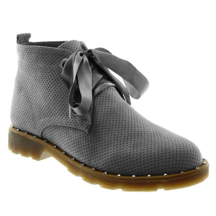 Angkorly - Chaussure Mode Bottine Derbies Desert Boots femme Lacet ruban satin perforée clouté Talon bloc 3 CM - Gris - XH1036 T 39