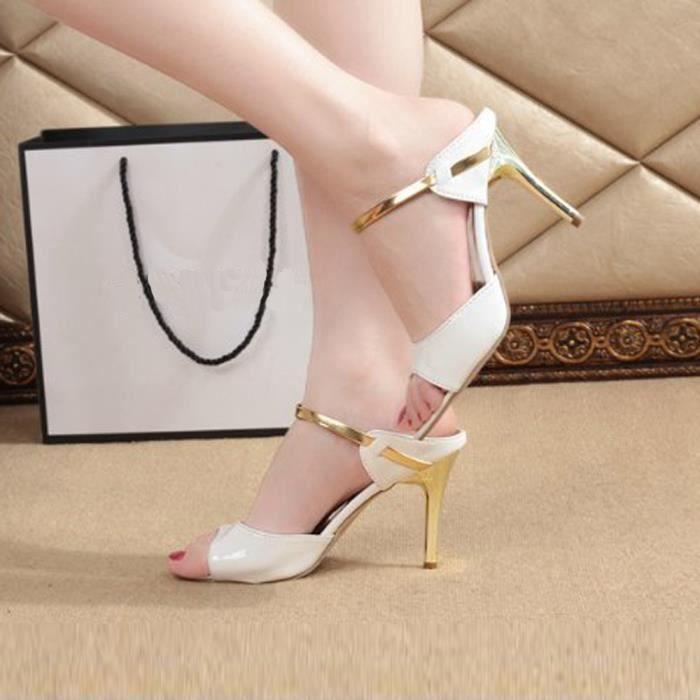 Talons Toe Block Femmes Dames Mode blanc Open Hauts Party Cheville Sandales Chaussures WqSRwnaA