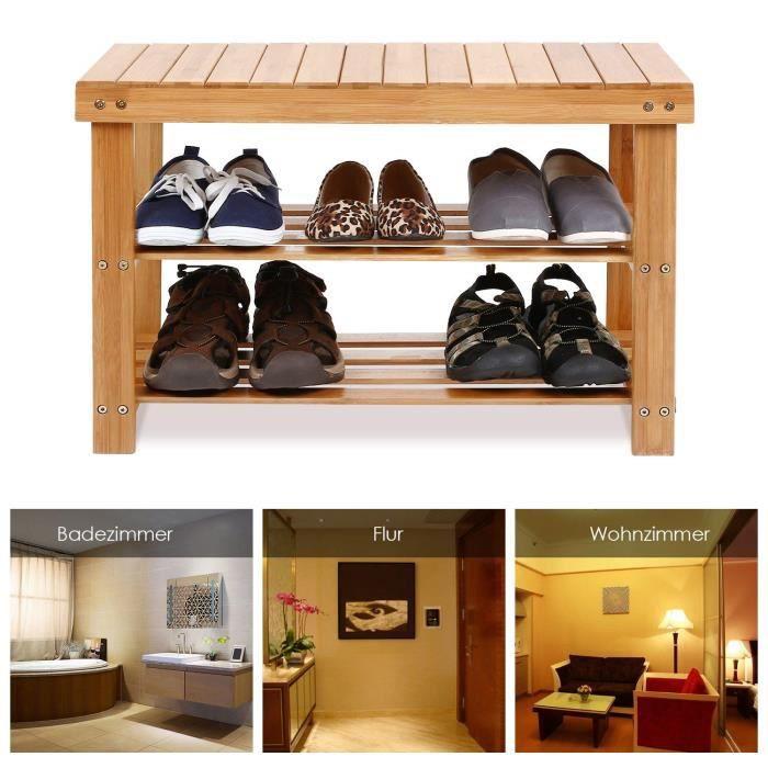 Banc étagère à chaussures en bambou 2 niveaux meuble de ...