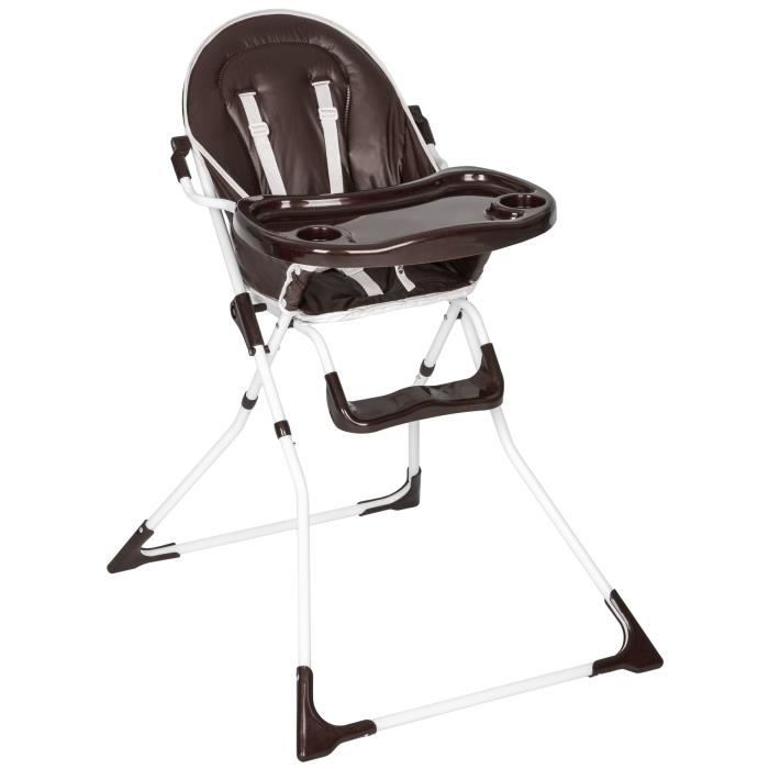 TECTAKE Chaise Haute Pour Bebe Enfant Confort Pliable Securite A 5 Points Plateau Et Repose Pieds 6 Mois 4 Ans Blanc Marron