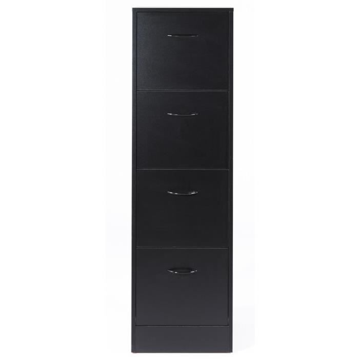 classeur dossiers suspendus 4 tiroirs noir tirsus l 42 x l 44 x h 141 cm achat vente. Black Bedroom Furniture Sets. Home Design Ideas