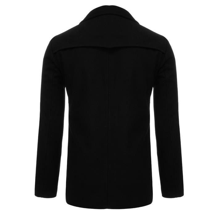 Button Long Veste Homme Noir Chaud Outwear Trench Hiver Pardessus Smart Zhs81101721bk Manteaux q0HwgBH