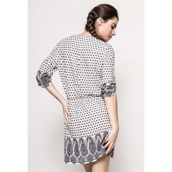 103b313061ba Robe imprimée, col V orné de perles, ceinture avec plumes Blanc Blanc -  Achat   Vente robe - Cdiscount
