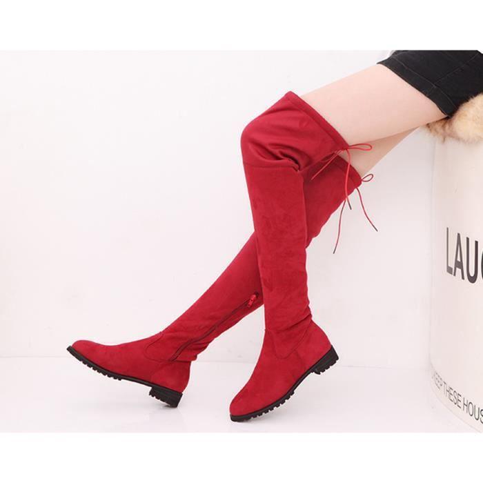 Bottes automne cheville talon haut femme en cuir véritable Taille accrue Zipper Femmes Pompes Elevator Chaussures Femme,rouge,37