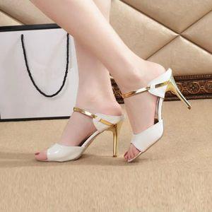 Hotskynie®Mode sandales talons fins peu profondes pointe talons hauts pour femmes Noir*SJF71229733BK iHOXUa