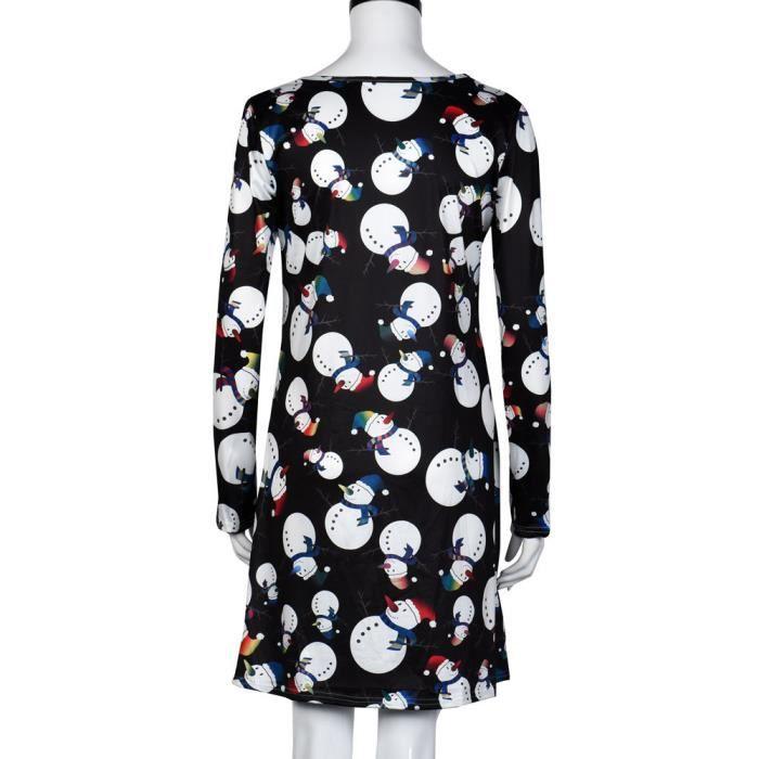 Mesdames manches longues femmes Snowman impression robe Swing fête de Noël Noël HA5740