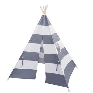 TENTE TUNNEL D'ACTIVITÉ Coton Toile Tente pour enfants en gris et blanc