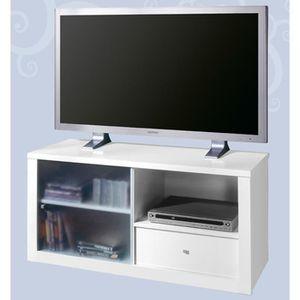 Meuble tv vitre achat vente meuble tv vitre pas cher for Meuble avec porte vitree