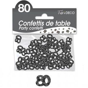 CONFETTIS Confettis de table anniversaire 80ans noir 10grs (