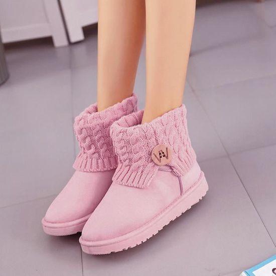 Mode femmes plat cheville tricot bottes en laine hiver chaud chaussures de neige@Rose   HEXIAOqin 3529 Rose Rose - Achat / Vente botte