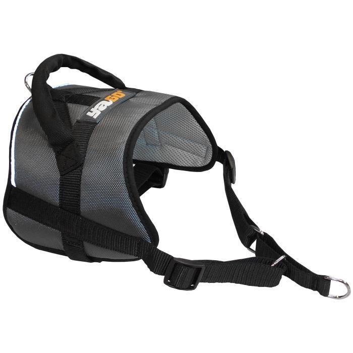 YAGO Harnais Anti-traction Education Chien, Couleur Gris, Taille M 69-80 cm, Bandes Réflechissantes, Confort maximal