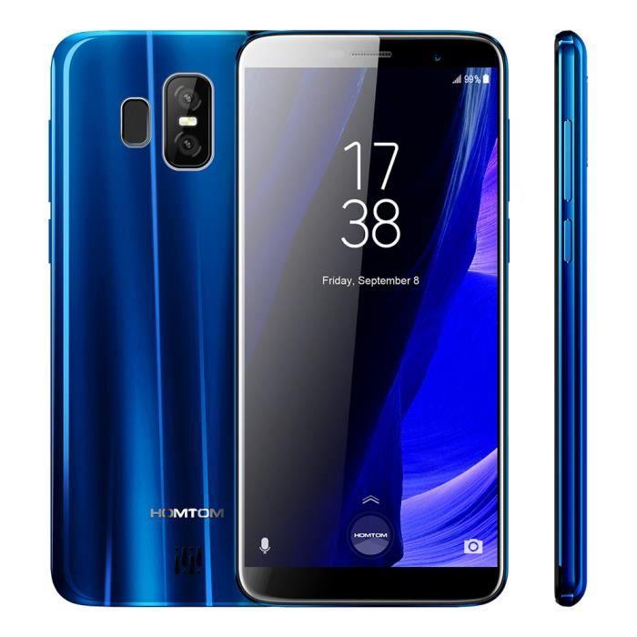 HOMTOM S7 4G-LTE Smartphone 5,5 pouces 18  9 sans lunette plein écran  Empreinte digitale 3GB+32GB MTK6737 Quadcore 1.3GHz Bleu 1d6eb5b1e6d4