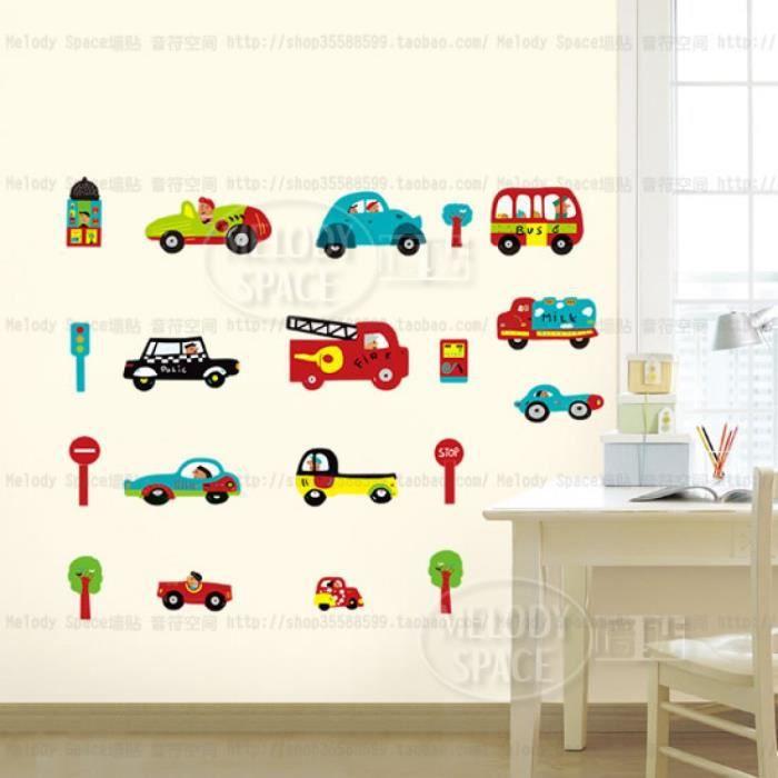 Dessin Animé Enfant Voiture Flotte Vinyle Stickers Muraux ...